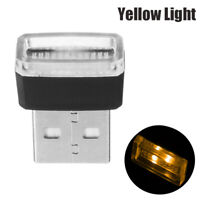 1x Yellow Mini USB LED Wireless Lamp Car Atmosphere Light Neon Accessories