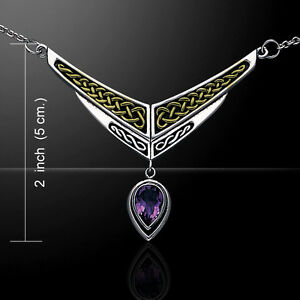 Celtic Knot .925 Sterling Silver Two Tone Necklace Peter Stone Elegant Jewelry