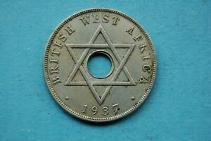 BRITISH WEST AFRICA -  1937 ONE PENNY GEORGE VI COPPER NICKEL COIN
