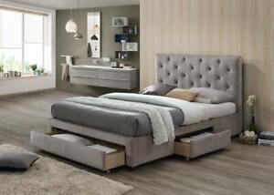 Mink velvet bed LESINA - classic design with 3 storage drawers