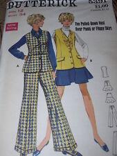 1969 BUTTERICK #5391-LADIES PULLED DOWN VEST - PANTS & FLIPPY SKIRT PATTERN 12FF