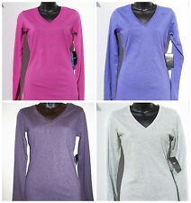 Womens NIKE Dri-FIT Performance SLIM FIT V-NECK L.S. SHIRT  XS S M  Cotton Blend