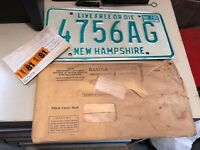 2 Vtg Rare NOS New Hampshire License Plates Pair & Reg 1980 NH Live Free or Die