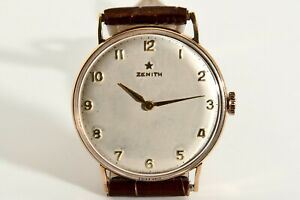 ZENITH 18K RED GOLD VINTAGE 1960S MANUAL WIND RARE WATCH 36MM !
