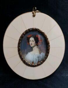 Miniatur Portrait Auguste Strobl 9,5 x 8,5  cm 210/19/31