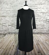Talbots Black Stretch Knit Dress 3/4 Sleeve Career Fitted Size 4 Back Zip