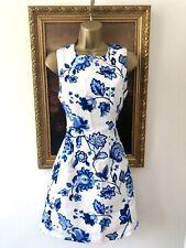 AX Paris White Blue China Romantic Girly Floral Rose Print Skater Dress -8