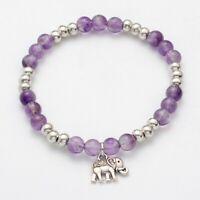 Amethyst Bracelet Ladies Women Charm Chakra Reiki Heal Crystal Stress Anxiety UK