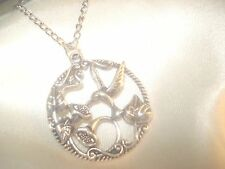 Antiqued Silver Plate Humming Bird & Flower Pendant & 18 Inch Chain