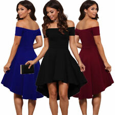 UK Womens Off Shoulder Dress  Party Cocktail Dresses Ladies Prom Bridesmaid Gown
