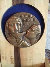 New listing Antique French Art Nouveau Deco Bronze Medal in olive wood box