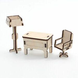 Arbeitszimmer / Büro aus Holz für unsere Puppenhäuser – Kreativ-Set