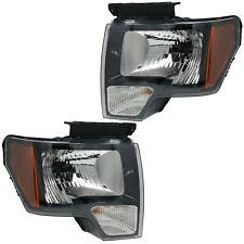 09 Thru 14 Ford F-150 SVT Raptor Headlights OEM - Black Housing w/ Bulbs