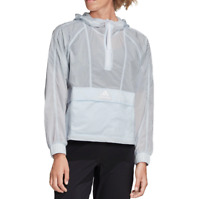 adidas Windbreaker Womens Wind Ready Anorak 1/2 Zip Cropped New XS to XL Blue
