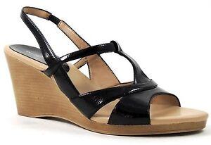 Easy Spirit Women's Summerglow Slingback Wedge Sandals Black Size 9 Narrow