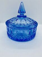 INDIANA GLASS COVERED CANDY DISH, Ice or Sapphire BLUE, PRINCESS Pattern