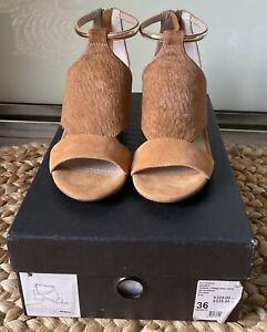 Mimco Terra Firma Mid Heel Shoes In Honey Size 36