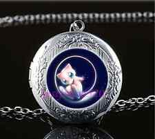 Pokemon Mew Photo Cabochon Glass Tibet Silver Locket Pendant Necklace