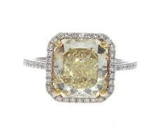 18K WHITE GOLD & FANCY YELLOW DIAMOND RING VVS1 GIA 4.96 CTS.