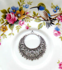ANTIQUE SILVER (1 Pair) Gypsy Boho Filigree Earring Hoops Stamping (E-237 Dap)