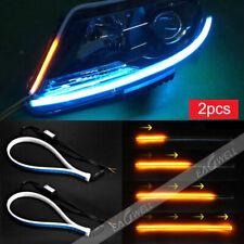 2pcs 30cm Slim Car Soft Tube LED Strip Daytime Running Light Turn Signal Lamp WQ