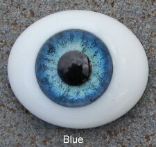 Solid Glass Flatback Oval Paperweight Eyes - Blue 10mm