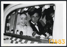 Vintage Photograph, wedding, bride in taxi, yellow cab 1950's Hungary