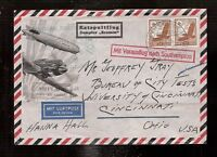 4) CATAPULT 1935 flight airmail cover Germany from ship Bremen to Cincinnati USA