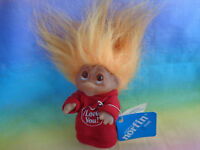 VTG 1985 Dam Norfin Troll Valentines Day I Love You Red Heart Outfit Orange Hair