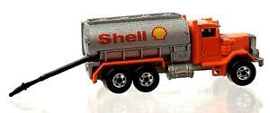 Hot Wheels Shell Truck Orange Peterbilt 1979 Gas Hose Pulls Out Loose