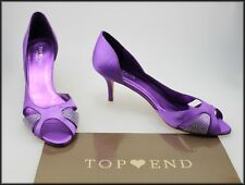 TOP END COLLECTION WOMEN'S HEELED OPEN TOE PURPLE SATIN SHOES SIZE 10 AUST 42 EU