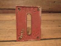 """Vintage Brass Red Metal Wall Plaque Fire Alarm """"FIRE 4 RINGS"""" Apparatus Plate!"""