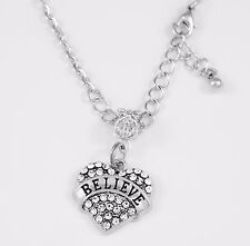 Believe Necklace  christian  religious  best jewelry faith gift  Crystal Heart