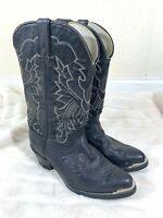 Mens Long Haul Black Leather Cowboy Boots - Size 8 W