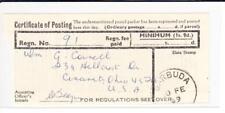Barbuda CERTIFICATE OF POSTING-BARBUDA 10/FE/69-Receipt Regn.No. 91