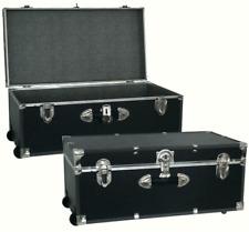 Footlocker Trunk Storage 30' Black Metal Heavy Gauge Vinyl Moisture Resistant