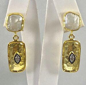 Genuine Pearl & CZ 22kt Gold Over Sterling Silver Dangle Earrings