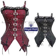 Women's Strap Steampunk Boned Black Corset Gothic Stripe Top Valentine Dress UK