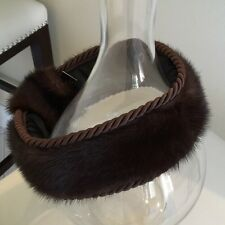 NWT Genuine Mink/Silk Rope Fur Headband Hat Scarf  With Tassels