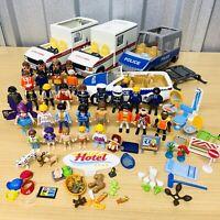 Huge PLAYMOBIL Job Lot 32 Figures, Some Rare, Furniture & Vehicles & Pets VGC