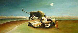 The SLEEPING GYPSY  Henry Rousseau  - Large 60x134 cm Oil Painting
