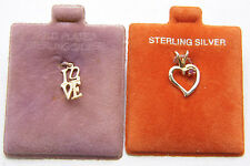"""Charm Lot of 2 """"LOVE"""" Tall Block & Heart w/Stone Gold Plated 925 Sterling Silver"""