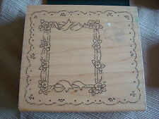 Rubber Stamp JRL Large Frame Photo Picture Box Window Box Lace Border Flowers