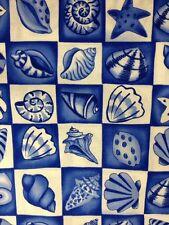 TT16 Blue & White Sea Shells Star Fish Beach House Cotton Fabric Quilt Fabric