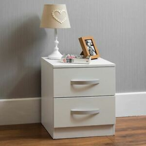 Hulio 2 Drawer Chest High Gloss Wood Bedroom Storage Furniture White