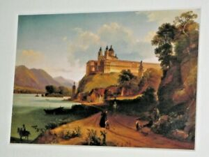 Temple Monastery Church Castle On Hill Overlooking Lake Mounted Unframed Print