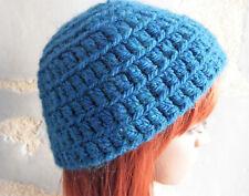 Bonnet court vintage en tricot couleur bleu canard pour femme ou jeune fille