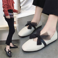 Women Bowknot Flat Casual Pumps Slip On Square Toe Boat Shoes Comfy Loafers Size