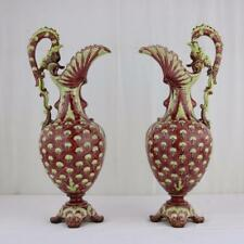 A Pair of Majolica Ewers by Julius Greiner & Son, Austrian Tall Vases Thistle