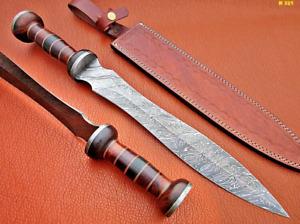 "HISTORICAL ROMAN GLADIUS SWORD 24"" HANDMADE DAMASCUS STEEL W/ ROSE WOOD HANDLE."